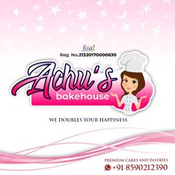 Achu's Bakehouse is a fssai Certified homebased bakery by 2 passionate sisters. We do serve Cakes, Cupcakes, Cakesickles, sandwiches, burgers, pizza, hampers and chocolates. Our USP is to double happiness of people with homemade delicacy. We have home delivery service as well as takeaway option.